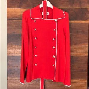NWT Bloomingdales red & white knit blazer w belt